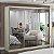 Guarda-Roupa casal 3 Portas com 3 Espelhos 100% MDF Marfim Areia Foscarini - Imagem 1