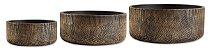 Kit Cachepot Cimento Preto e Dourado Mart - Imagem 1
