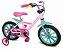 Bicicleta Aro 14 First Pró Freio a Disco Rosa e Verde - Imagem 1