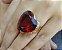 Anel de Coração Pedra Grande Vermelho Rubi Banhado a Ouro - Imagem 2