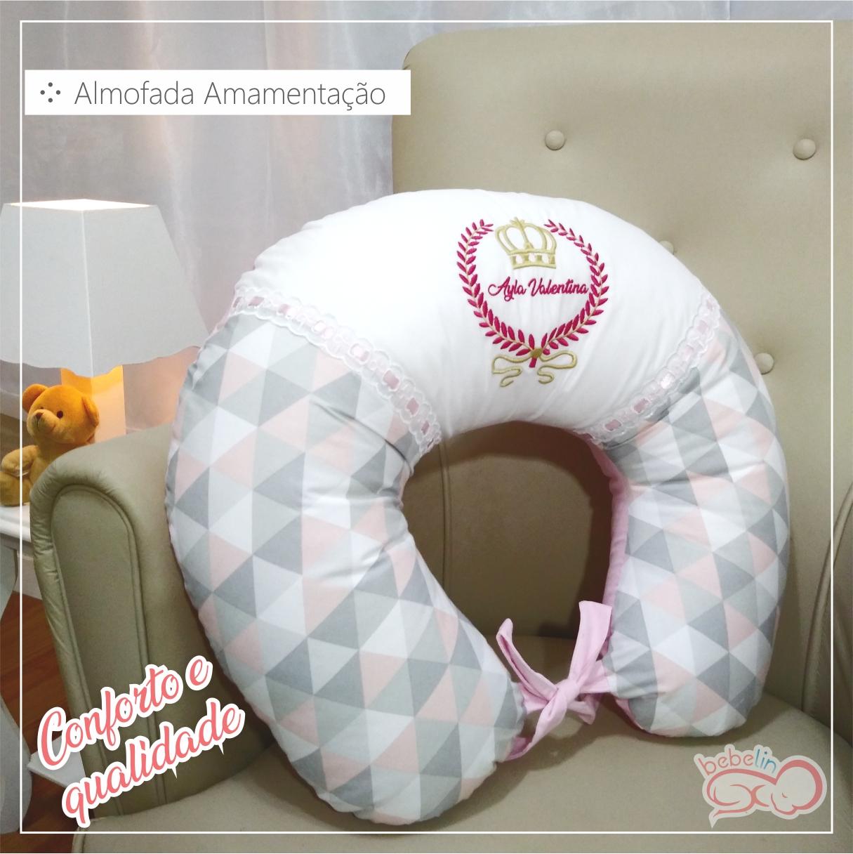 9718212fb Almofada de Amamentação Rosa Com Estampa Triangular - Bebelin ...