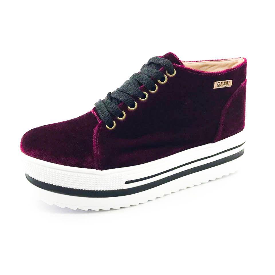 6bcc8a1d19 ... Tênis Quality Shoes Flatform 006 Veludo Bordô Sola Alta com Detalhe -  Imagem 3 ...