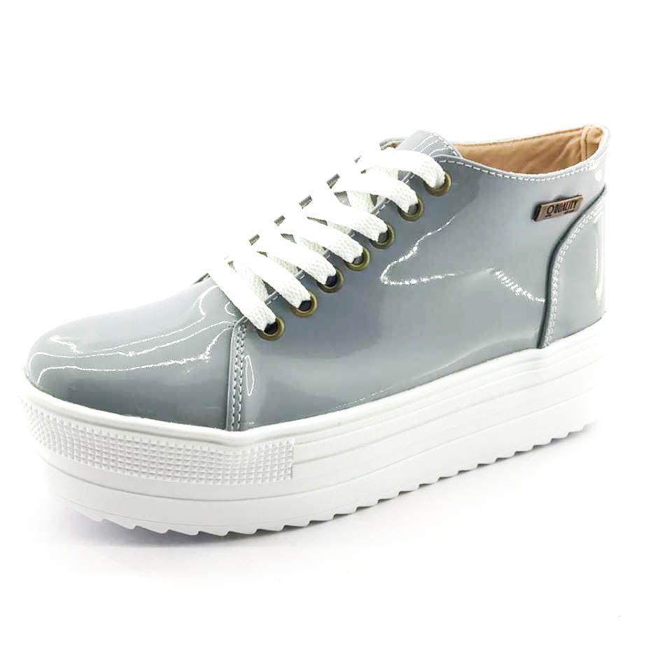 8394af2cd5 ... Tênis Quality Shoes Flatform 006 Verniz Cinza Sola Alta - Imagem 3 ...