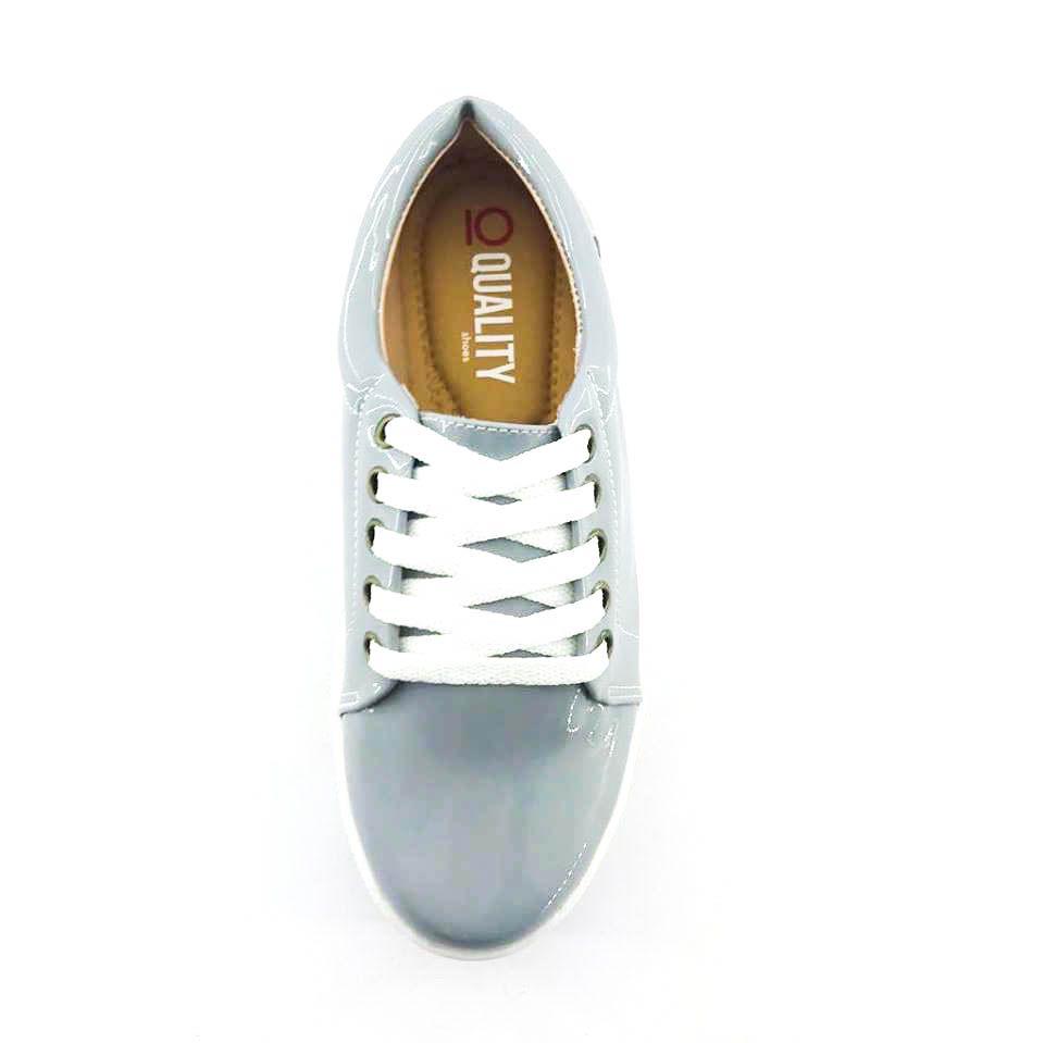 961ee2be47 ... Tênis Quality Shoes Flatform Verniz Cinza Sola Alta com Detalhe -  Imagem 3