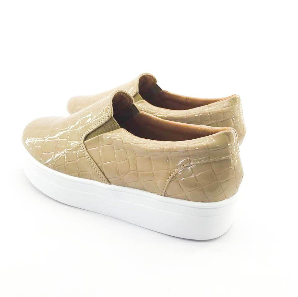 ff32dca212 ... Tênis Flatform Quality Shoes Feminino 009 Verniz Croco Nude - Imagem 2  ...