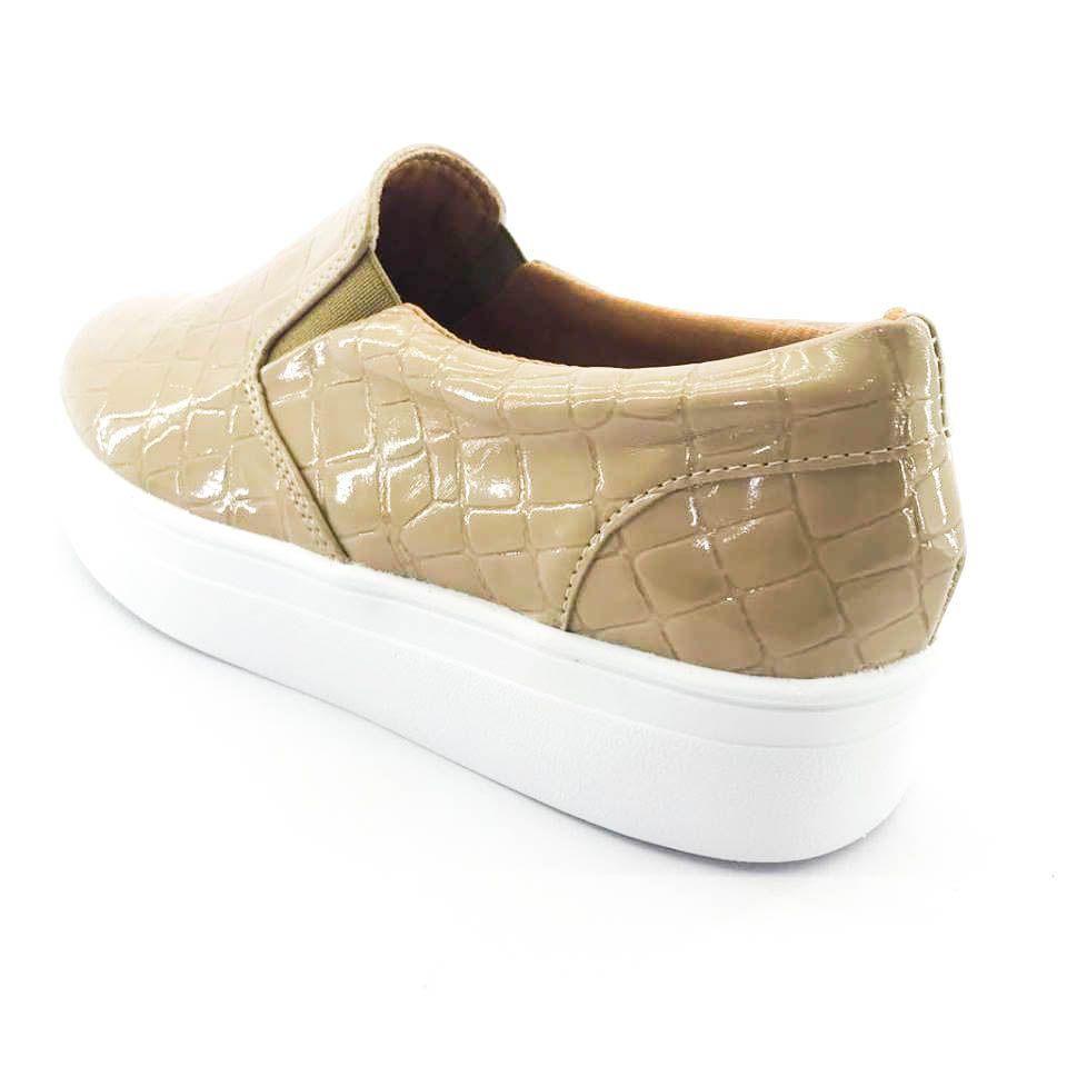 8ecf36b395 ... Imagem 3  Tênis Flatform Quality Shoes Feminino 009 Verniz Croco Nude -  Imagem 4 ...