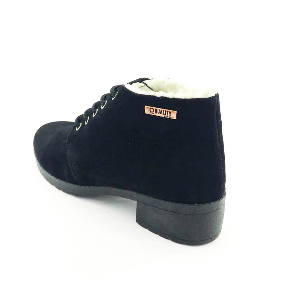 a3cad23c6f ... Bota Coturno Forrada em Lã Quality Shoes Feminina Camurça Preto -  Imagem 2 ...
