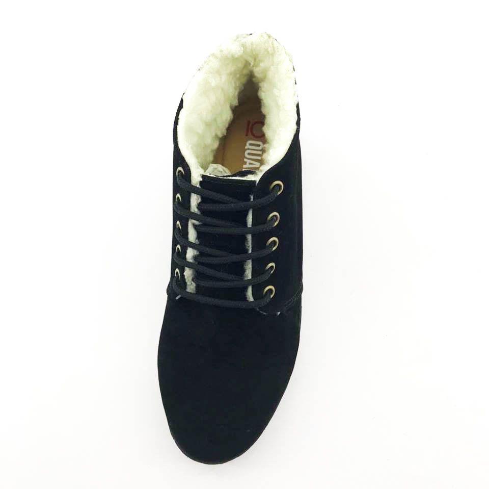 b0309e4c3c ... Bota Coturno Forrada em Lã Quality Shoes Feminina Camurça Preto -  Imagem 3 ...