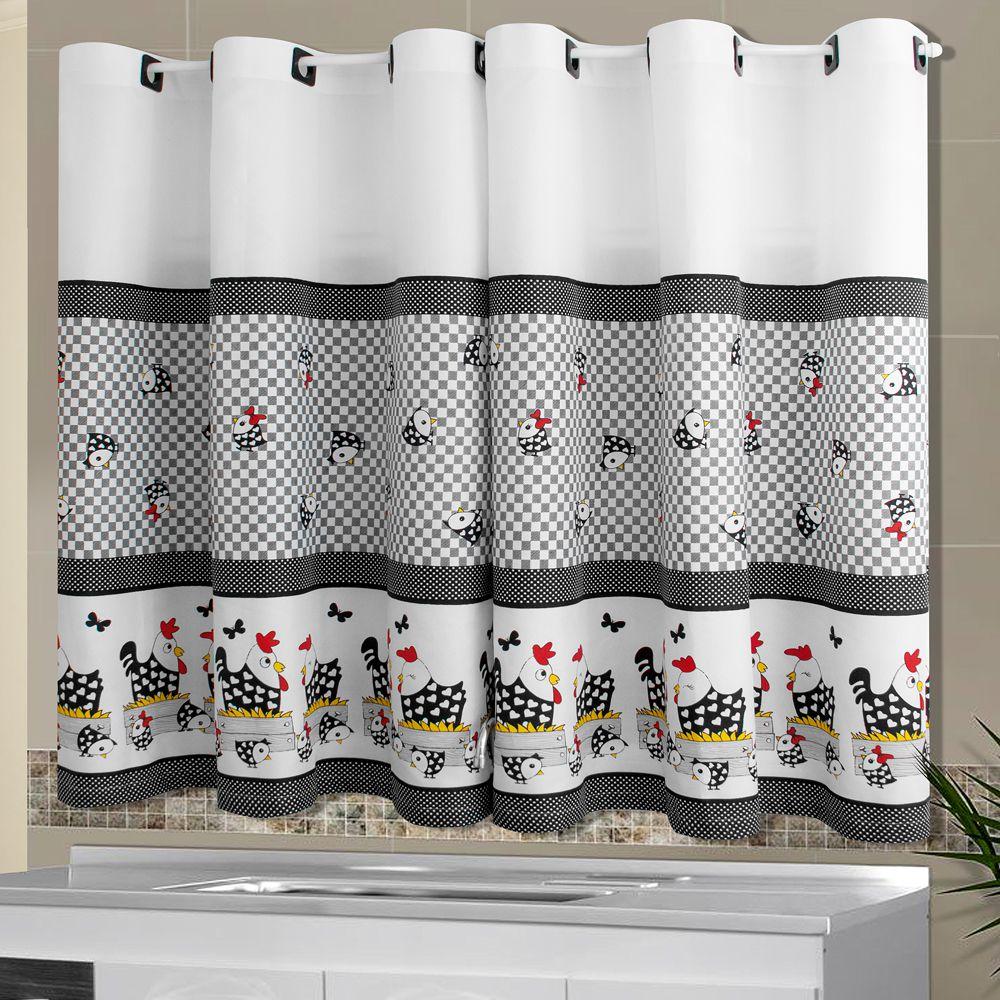 Cortina De Cozinha 2 40mx1 40m Galinha Simples Sakura Enxovais
