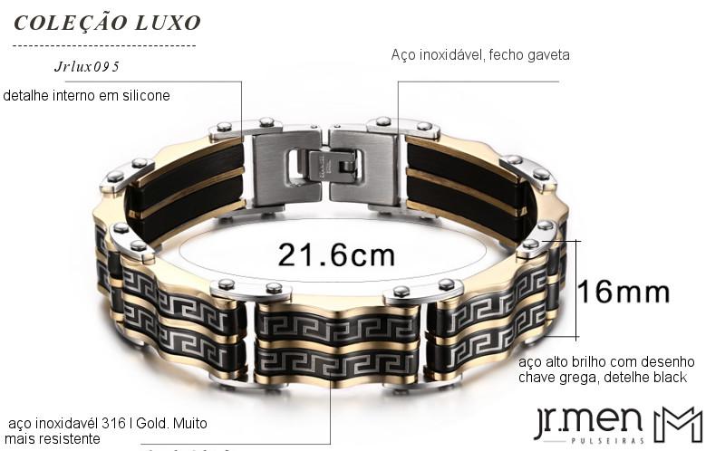 baef57070a7 Pulseira Jr Men ouro com detalhes em chave grega - JR MEN PULSEIRAS