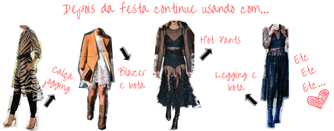 várias formas de como usar vestido de renda transparente