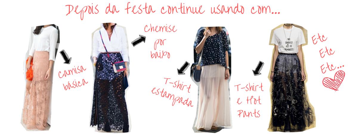 várias formas de como usar saia de festa
