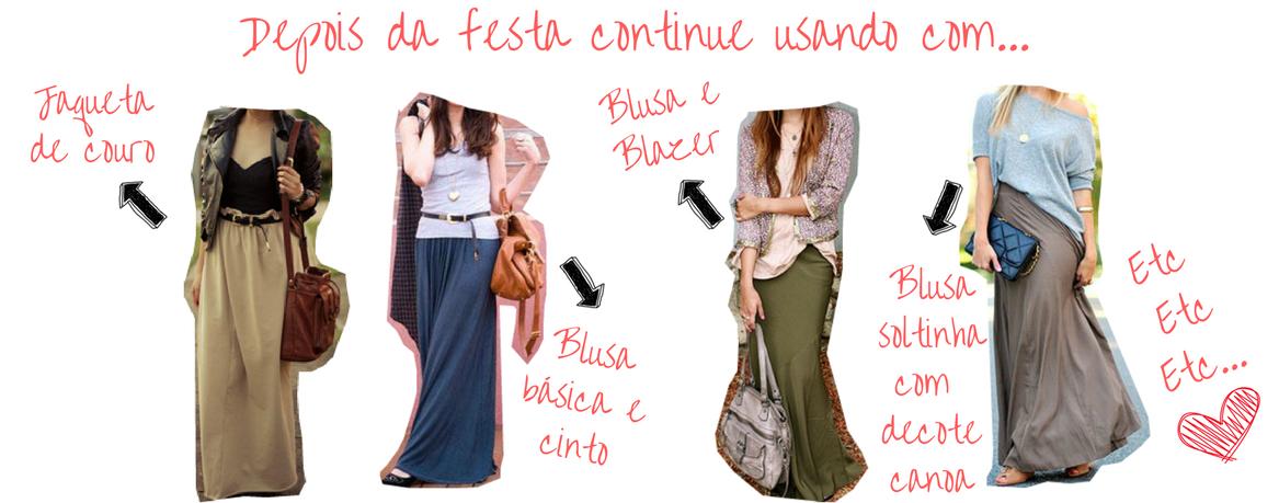 várias formas de como usar saia longa reta