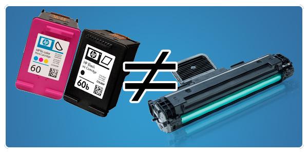 Diferença entre cartuchos de jato de tinta e toner de impressora a laser