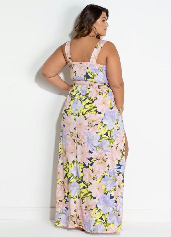 4e35351b4 Vestido Plus Size Longo Com Short e Fenda Sensual - Moda Plus Size ...