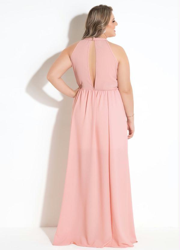 17223d72a ... Vestido Longo Festa Plus Size Rosa Com Paetè - Imagem 2 ...