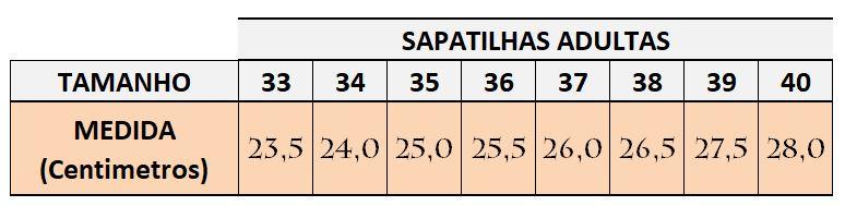 Tabela de Medidas Flavia Mendes Sapatilhas Bico Redondo