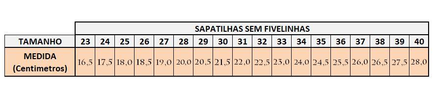 Tabela de Medidas Flavia Mendes Sapatilhas Bico Fino