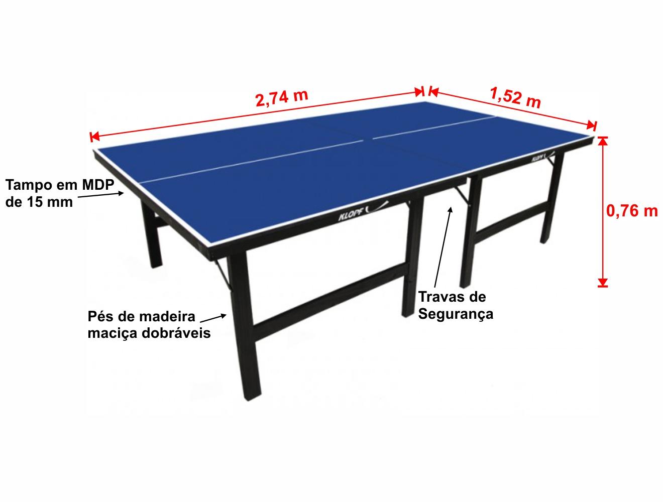 ee261e2a5 Mesa de Tênis de Mesa Ping Pong Klopf 1001 MDP 15mm - Estilo Esportivo
