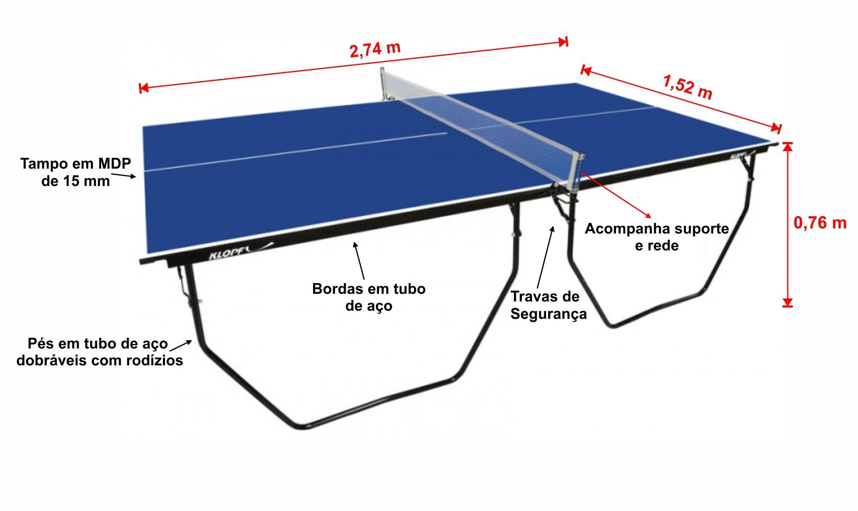 e84c5b90b Mesa de Tênis de Mesa Ping Pong Klopf 1007 com Rodízios MDP 15mm ...