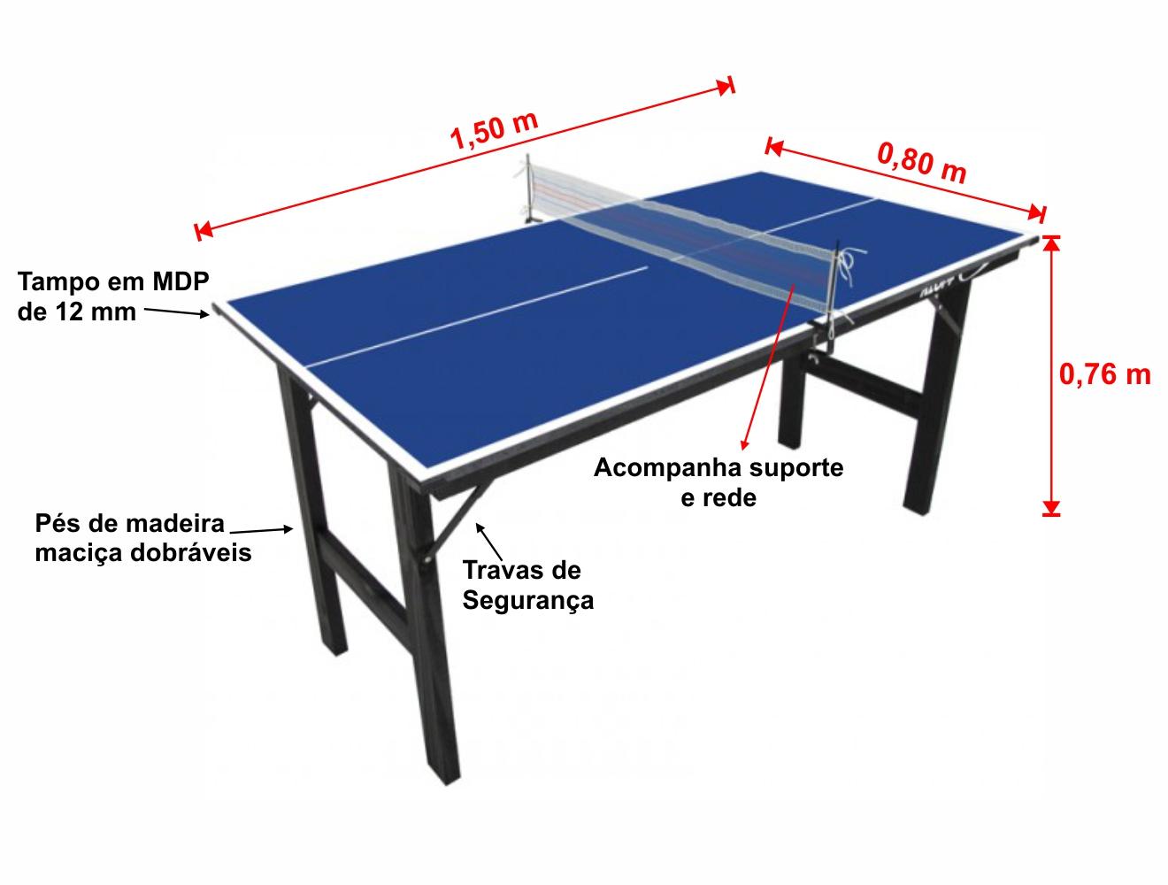 982571247 Mini Mesa de Tênis de Mesa Ping Pong Klopf 1003 MDP 12mm - Estilo ...