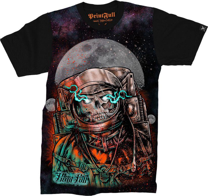 23584807d Camiseta Printfull Shock Wave Astronaut - Camisetas Printfull ...