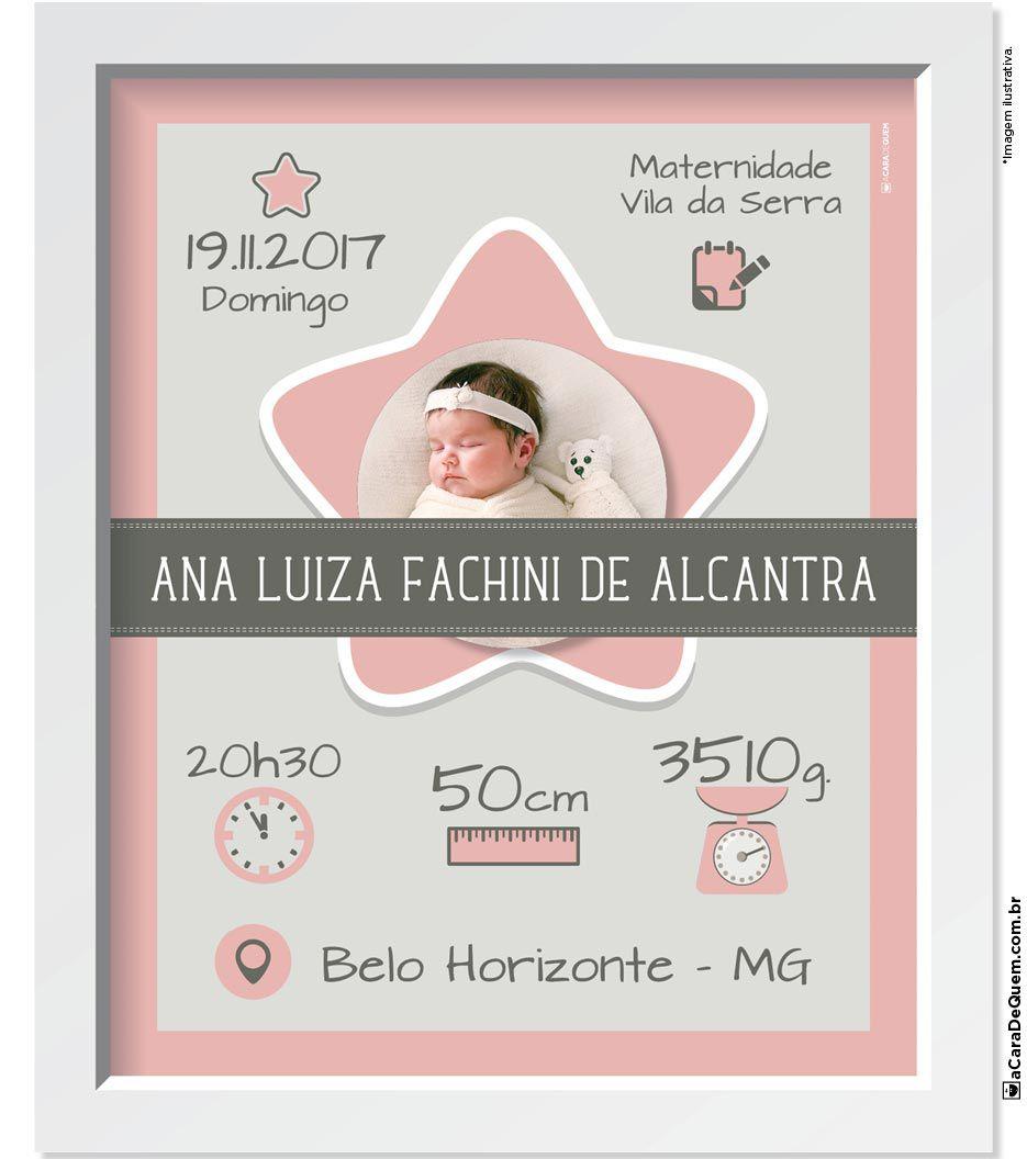Quadro Personalizado Bebê - Nascimento Menina