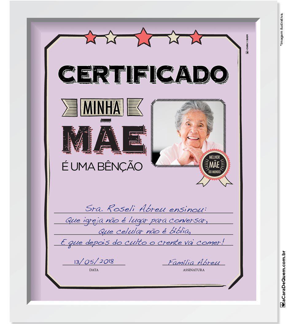 Quadro Personalizado Mãe - Certificado Benção