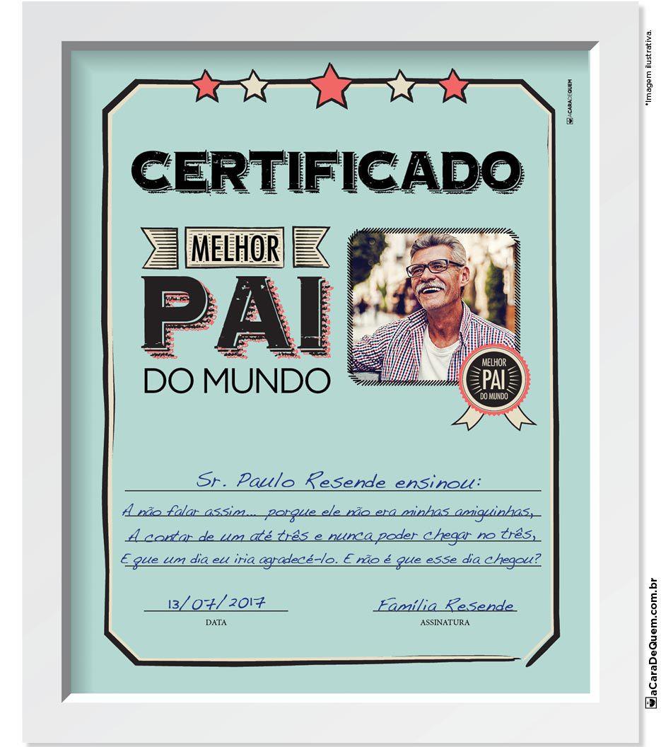 Quadro Personalizado Pai - Certificado Benção
