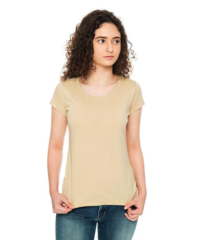 054ab793a Camiseta Básica Baby Look Bege - Camisetas Básicas