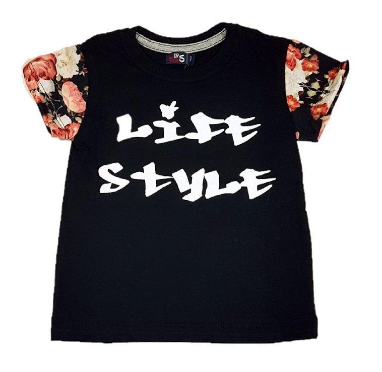 47e5d38e9 Camiseta Infantil menino em preto Life Style com Mangas em estampa floral -  Imagem 1 ...