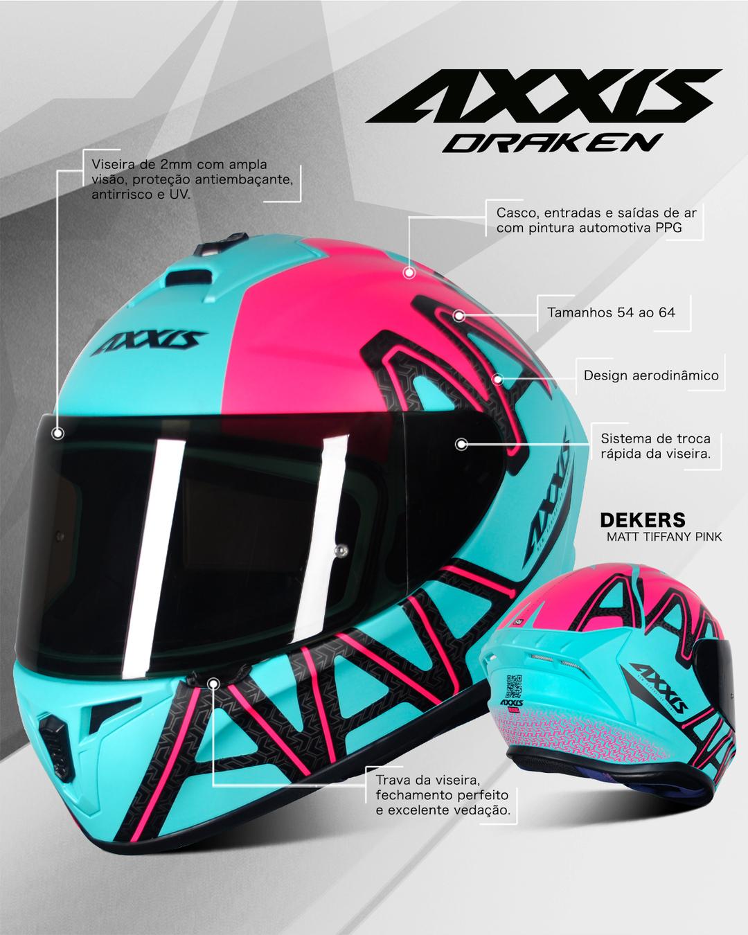 Capacete Axxis Draken Dekers - Tiffany/Rosa/Preto Fosco