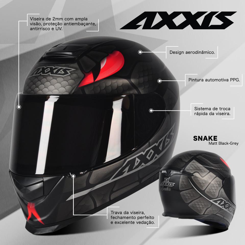 Capacete Axxis Eagle Snake - Preto/Cinza
