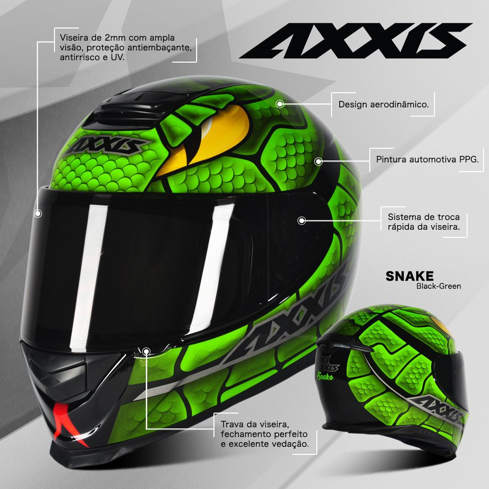 Capacete Axxis Eagle Snake - Preto - Verde