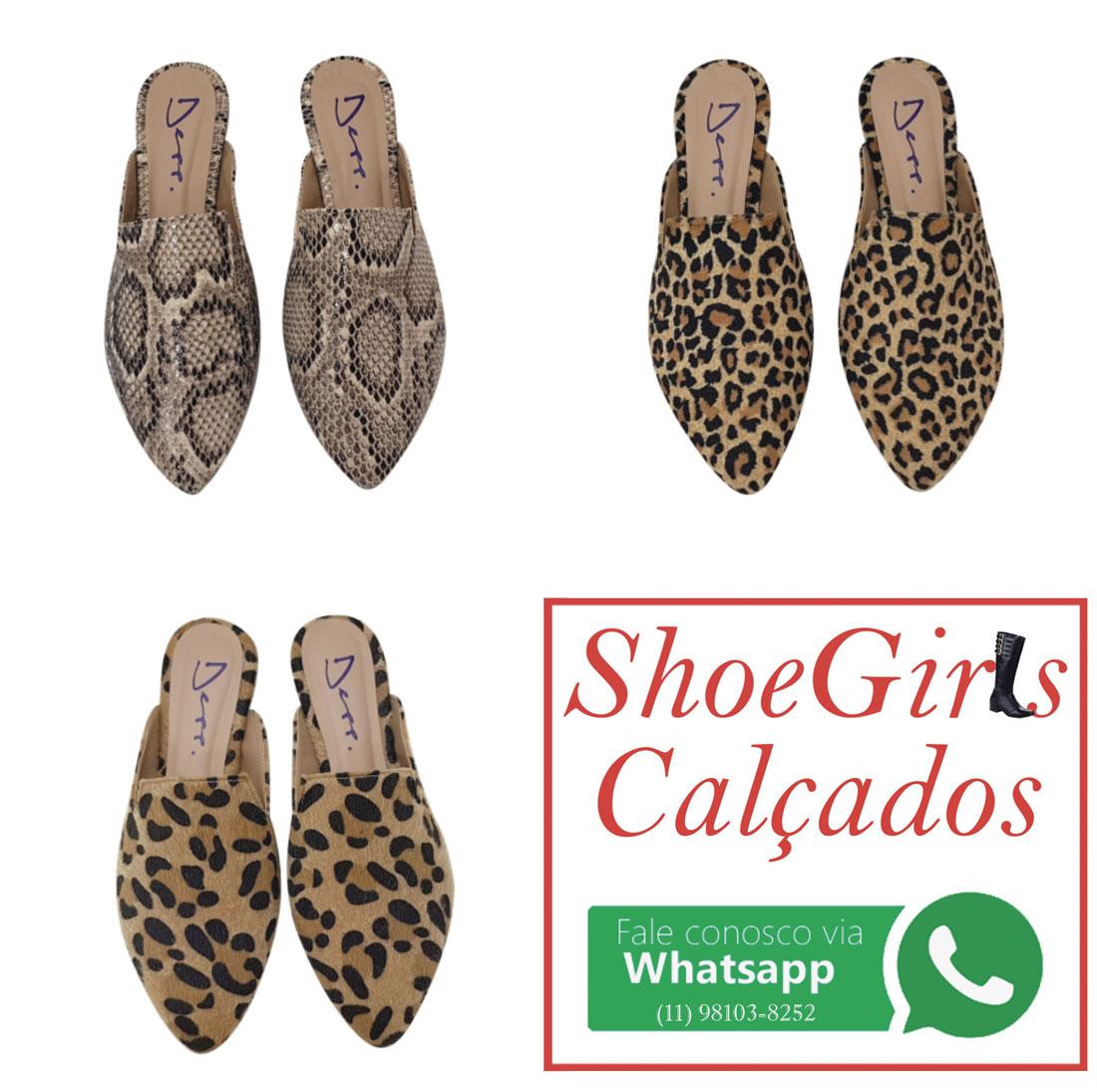 351f162f2 Mule Animal Print Bico Fino Sapato Feminino Depp Calçados ...