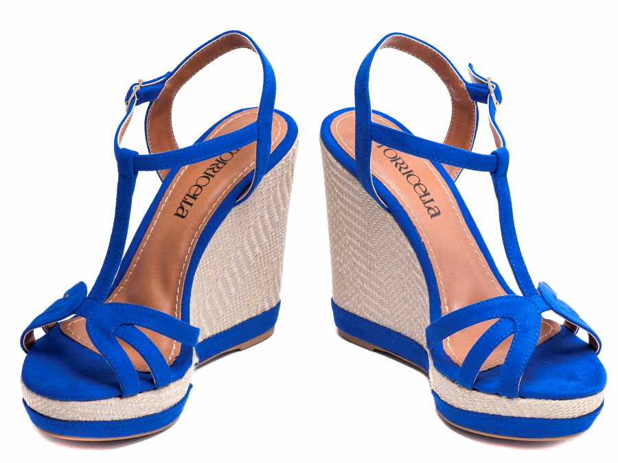 2e36551df Sandália Anabela Feminina Azul Salto 12 Torricella. - ShoeGirls ...
