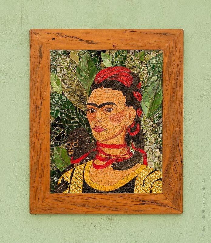 Quadro Frida em mosaico
