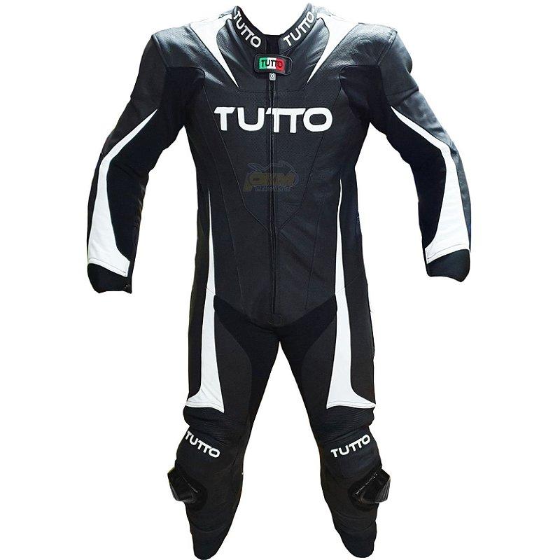 Macacão Tutto Racing: Preto e Branco. 1 Peça