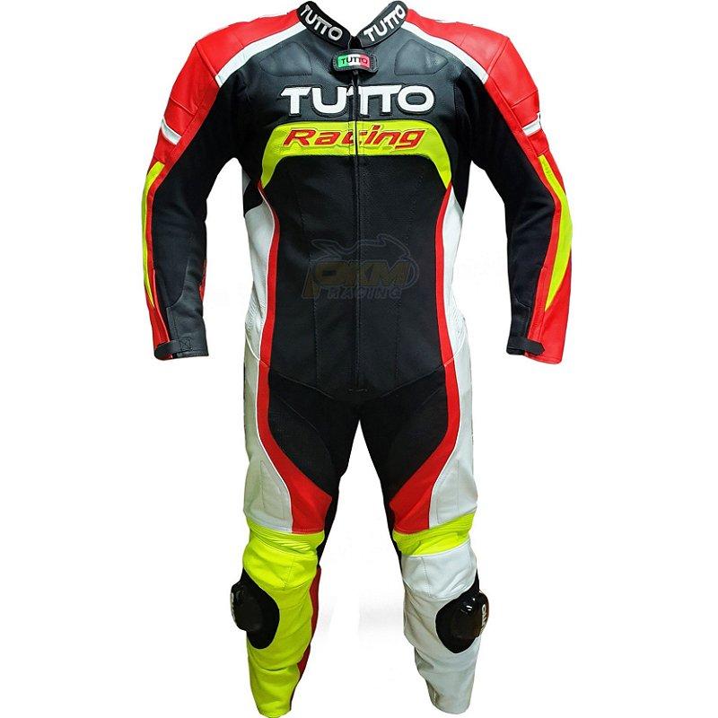 Macacão Tutto Led Racing : Branco, Vermelho Fluorescente. 1 Peça