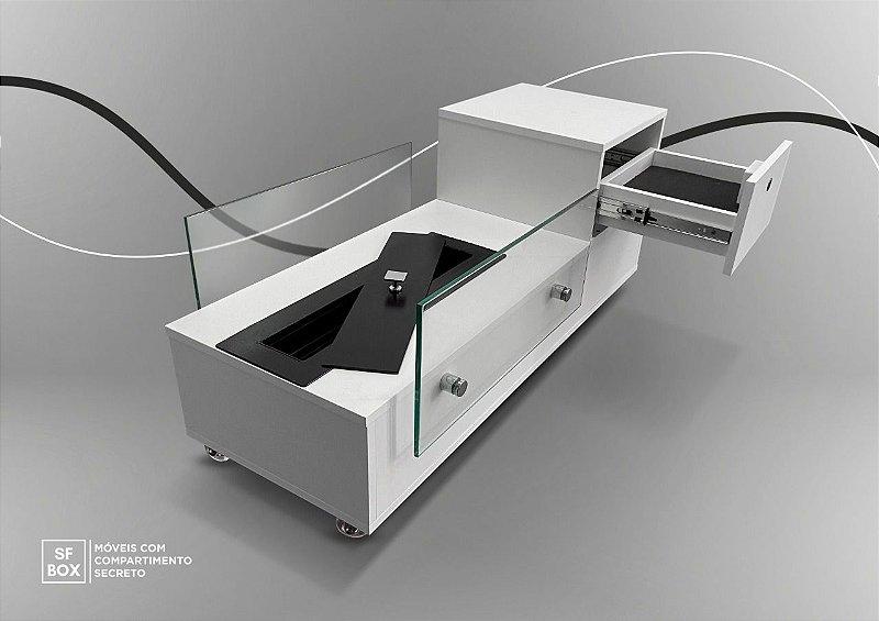 Lareira Ecológica com Compartimento Secreto em 100% MDF Branco