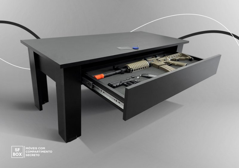 Mesa de Centro com Compartimento Secreto MDF Preto SFBOX