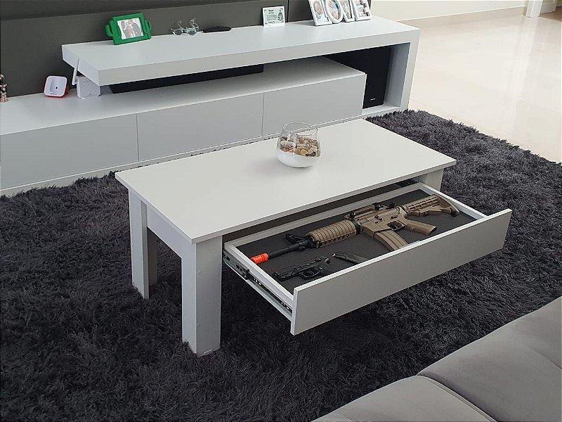 Mesa de Centro em MDF com Compartimento Secreto Branco SFBOX