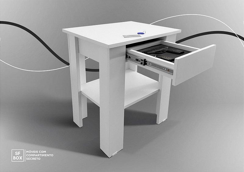 Mesa de Canto com Compartimento Secreto em MDF Branco SFBOX