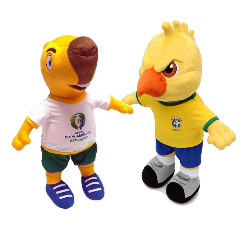 Mascote da Copa América 2019 Zizito Pelúcia e Mascote Canarinho Pelúcia 2019