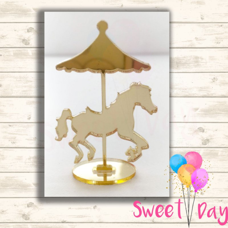 Aplique Cavalo Carrossel com Base (10 peças) 4 cm
