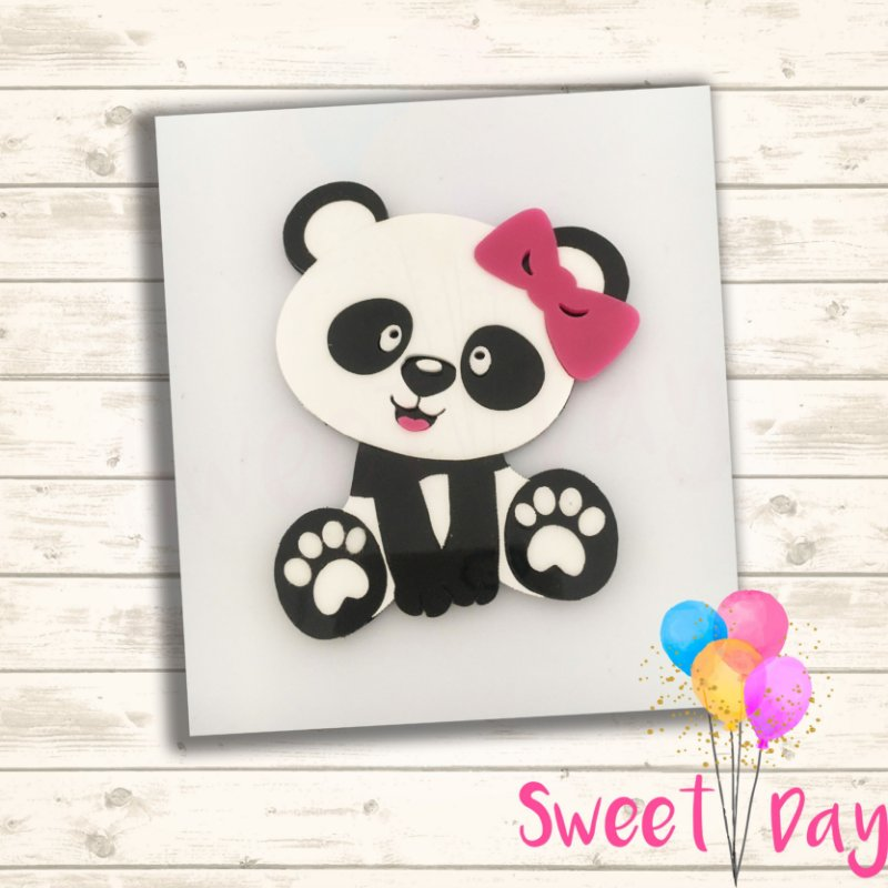 Aplique Ursinha Panda 8 cm   (05  peças)