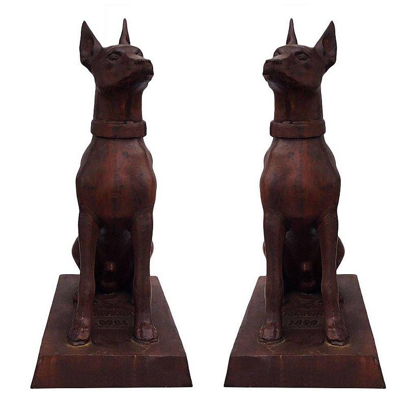 Escultura De Cachorro Dobermann - Ferro Fundido