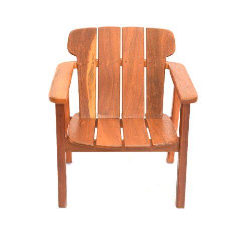 Cadeira Em Madeira De Demolição com Ripas Largas - Assento Declinado