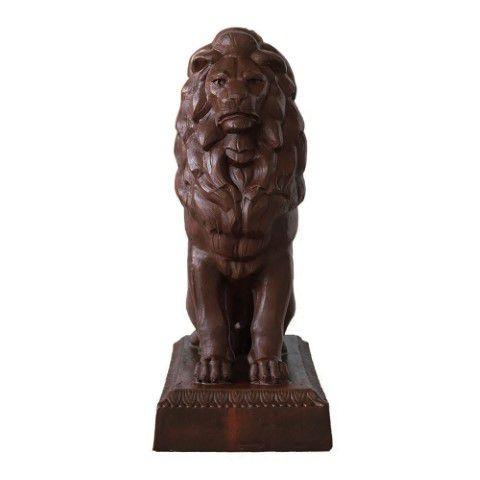 Escultura De Leão Sentado - Ferro Fundido