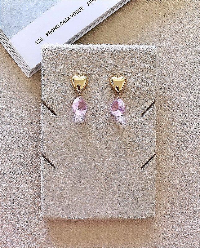 Brinco Coração Gotinha de Cristal Rosa
